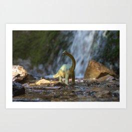 Dinosaur waterfall Art Print