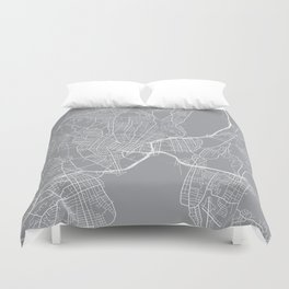 New Haven Map, Connecticut USA - Pewter Duvet Cover