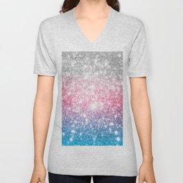 Galaxy Sparkle Stars Cotton Candy Unisex V-Neck