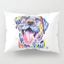 Black Lab Colorful Watercolor Pet Portrait Painting Pillow Sham