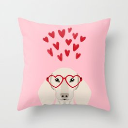 Dachshund valentines day love heart gifts dog breed doxie must haves Throw Pillow