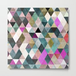 Abstract colorful watercolor geometrical triangles Metal Print