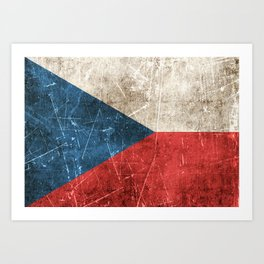 Vintage Aged and Scratched Czech Flag Art Print