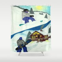 snowboarding Shower Curtains featuring Snowboarding ; Putting In Your Eight Hours by N_T_STEELART