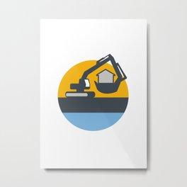 Excavator Digger Handling House Circle Retro Metal Print