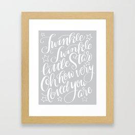 Twinkle Twinkle Litte Star Grey Framed Art Print
