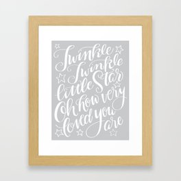 Twinkle Twinkle Litte Star Grey Framed Art Print