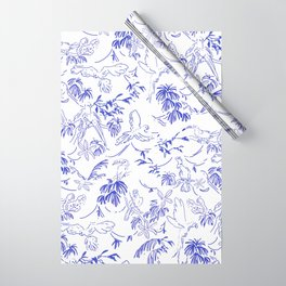 Tropical birds blue toile Wrapping Paper