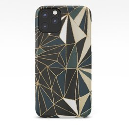 New Art Deco Geometric Pattern - Emerald green and Gold iPhone Case