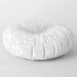 Simply Mid-Century Retro Gray on White Floor Pillow
