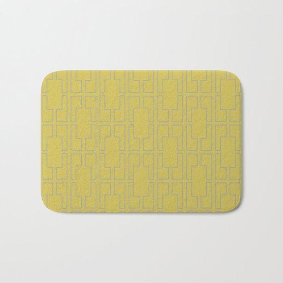 Simply Mid-Century Retro Gray on Mod Yellow Bath Mat