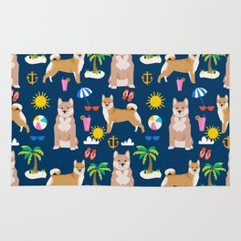 Shiba Inu summer beach vacation dog gifts pure breed pet portrait pattern Rug