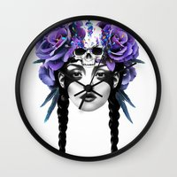 roses Wall Clocks featuring New Way Warrior by Ruben Ireland
