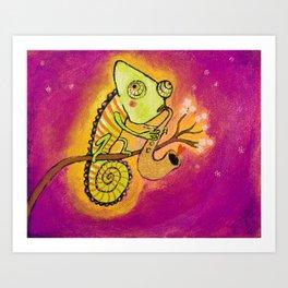 Chameleon in love Art Print