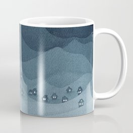 Moon over the mountains, landscape, indigo night Coffee Mug