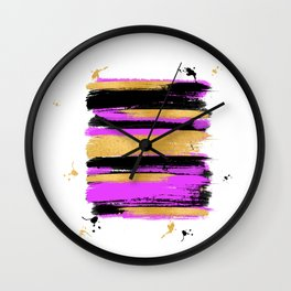 Black Pink And Gold Abstract Paint Lines Wall Clock