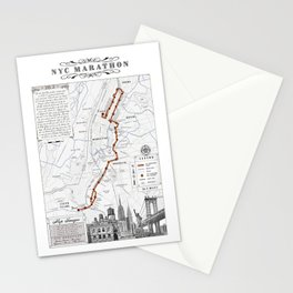 New York City Black & White {marathon course} map 26.2 Stationery Cards