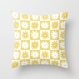 Yellow And White Checkered Flower Pattern Throw Pillow