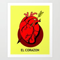 El Corazon Mexican Loteria Pop Art Art Print