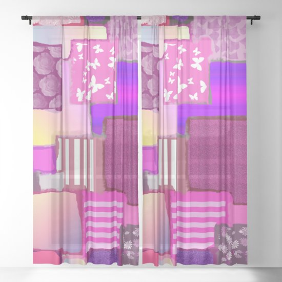 Pink Squares Patchwork Fabric Painting by ejaggerart