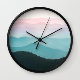 Smoky Mountain National Park Sunset Layers III - Nature Photography Wall Clock