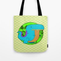 dino Tote Bags featuring Dino by R.E.L