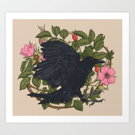 Raven and roses Art Print