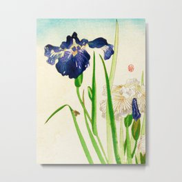 Blue Iris Japanese Watercolor Print Metal Print