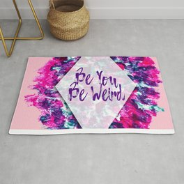 Be You Be Weird Typography Pink Purple Watercolor Rug