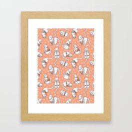 Christmas Cats in Embroidery Sweaters Seamless Vector Pattern Framed Art Print