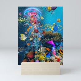Electric Jellyfish at a Reef Mini Art Print
