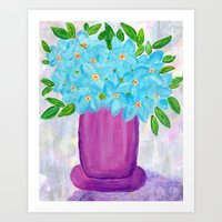 Magenta Vase with Aqua Flowers Art Print