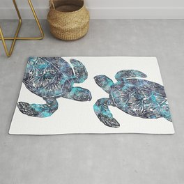 Sea Turtle Blue Watercolor Art Rug