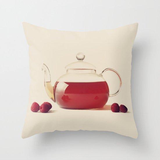 Raspberry Tea (Retro and Vintage Still Life Photography) Throw Pillow