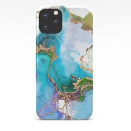 Abstract Marble Mermaid Gemstone With Gold Glitter iPhone Case