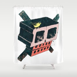 Brick Crossbones and a Bird Shower Curtain