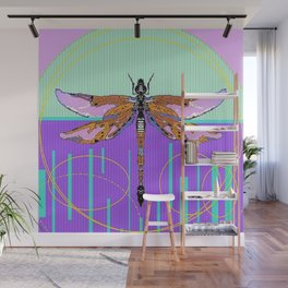 Dragonfly Dream Weaver in Aqua & Lilac Wall Mural