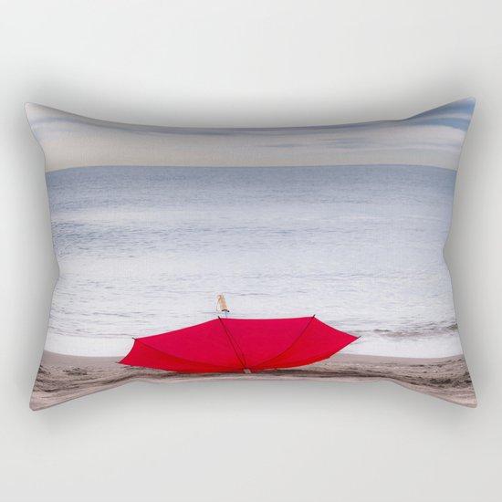 Red Umbrella at the beach Rectangular Pillow