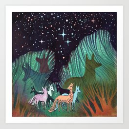 Galaxy Dogs Art Print