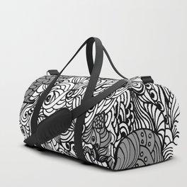 Squirrels Zentangle Drawing White Duffle Bag