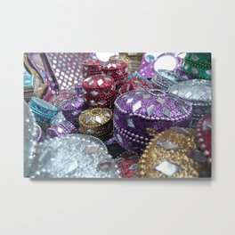 Shopping - Streets of India Metal Print