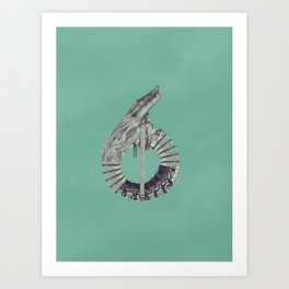 Typography - Steampunk Number 6 Art Print