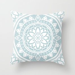 Mandala Pale Blue Spiritual Zen Bohemian Hippie Yoga Mantra Meditation Throw Pillow