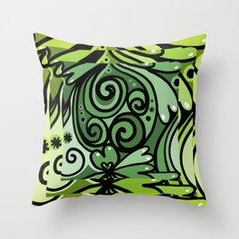 Lush Green Doodle Throw Pillow