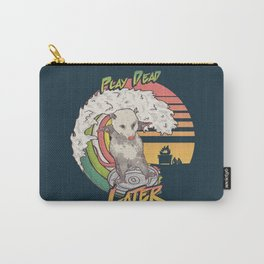 Play Dead Later - Funny Opossum T Shirt Rainbow Surfing On A Dumpster Can Lid Searching For Trash, Burning Dumpster Panda Summer Vibes Street Cats Possum Carry-All Pouch
