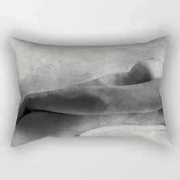 Time for Myself. Nude woman pencil and watercolor portrait Rectangular Pillow