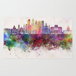 Buenos Aires V2 skyline in watercolor background Rug