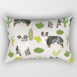 Australian Shepherd owners dog breed cute herding dogs aussie dogs animal pet portrait cactus Rectangular Pillow
