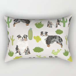 Australian Shepherd owners dog breed cute herding dogs aussie dogs animal pet portrait cactus Rectangular Pillow