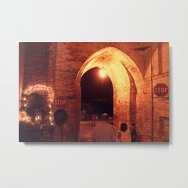 Night in Downtown Montefiore dell'Aso (2 of 2 color choices) Metal Print